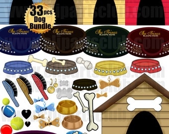 Prince Dog Bundle 35 images Rhinestone diamond Glamour Dog Accessories, Beds, Houses Treats, Brushes, Toys, Tags Clip Art Printable