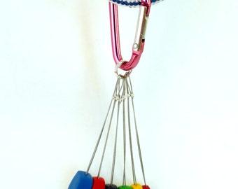 Climbing Nuts Key Chain - Pink Carabiner