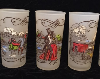 Currier & Ives Gay Fad Frosted Set of 5 Glasses