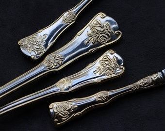 4pcs Royal Albert Old Country Roses, Gold Accent Flatware, Sauce Ladle, Cake Server, Casserole Spoon, Dinner Knife, Royal Albert Stainless