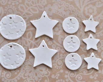 Set of star gift tags, set of 10 - mix of gift tags, star-shaped tags, star print gift tags, white clay tags, tiny gift tags, star clay tags