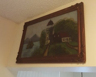 Reverse painting of a lighthouse