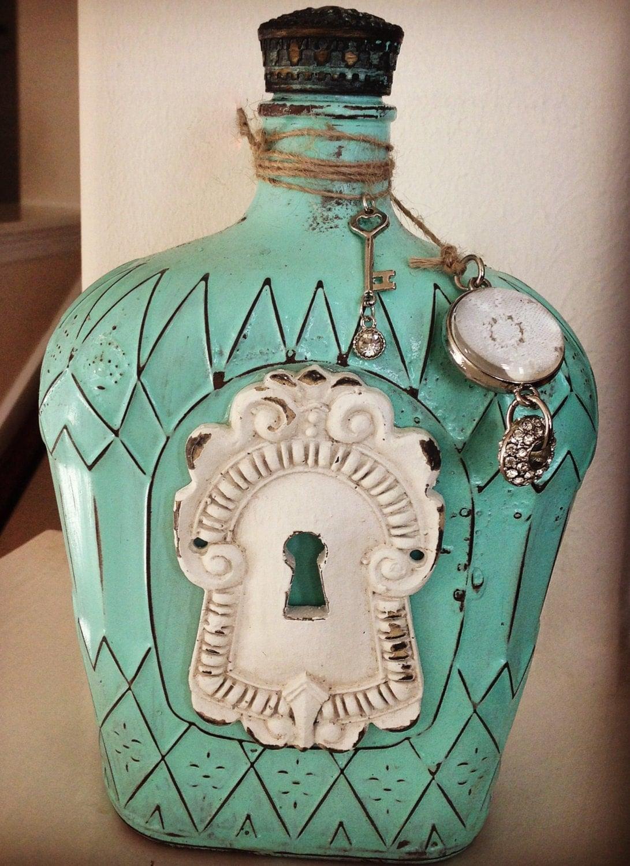 Vintage inspired crown royal bottles for Decor drink bottle