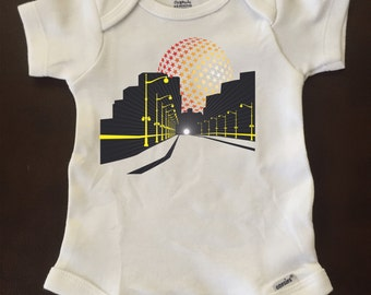 Tunnel vision Stars and Streetlights 3-6 Month Onesie