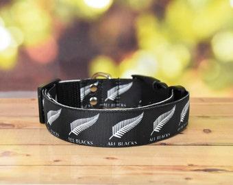 Adjustable Dog Collar - New Zealand ALL BLACKS / Football / Rugby / team/ NZ / Sports /