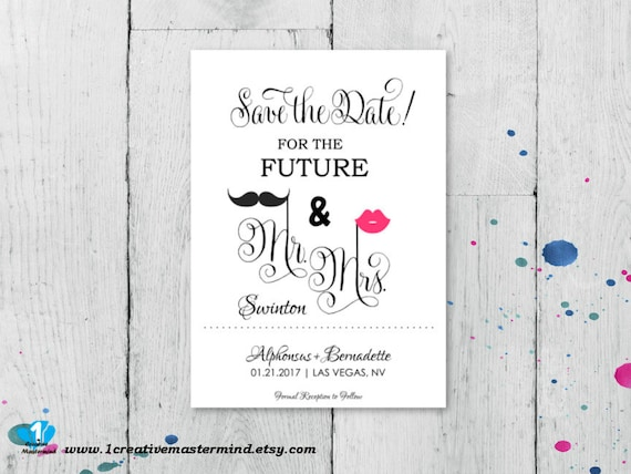electronic save the date template - diy fun save the date template mr and mrs instant download