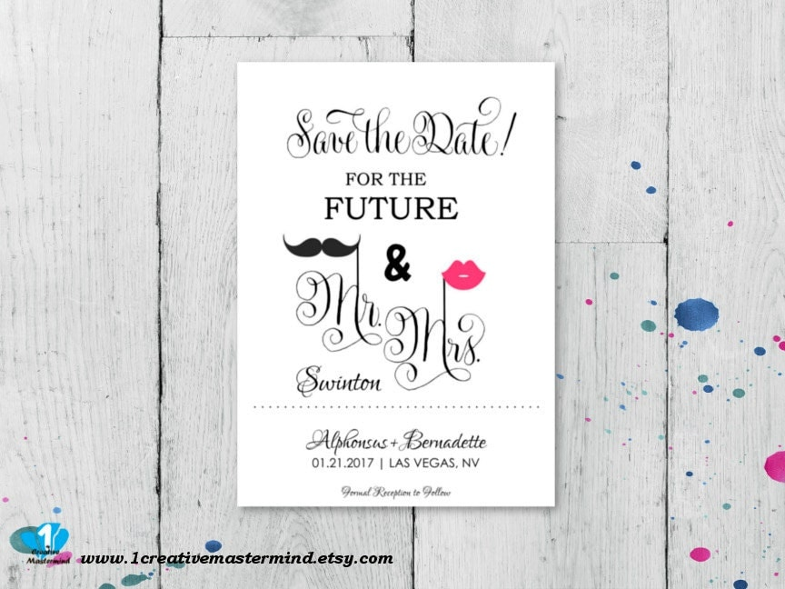 DIY Fun Save the Date Template Mr and Mrs Instant Download
