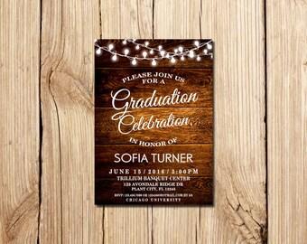 Graduation Celebration Invitation, Graduation Party Invitation, Rustic Graduation Announcement, Printable,  wooden, Graduation Invite