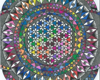 "Colorful Eye Mandala 11""14"