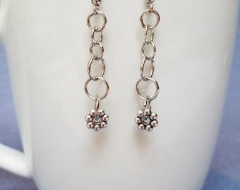 Silver flower earrings, flower earrings, silver earrings, dangle earrings