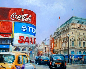 Original oil painting on canvas by Roger Pan,'' London Piccadilly'', London, 24x30inch