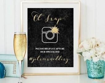 Oh Snap Sign, Wedding Printable Hashtag Sing, Personalise Wedding Sign, Printable social media sign