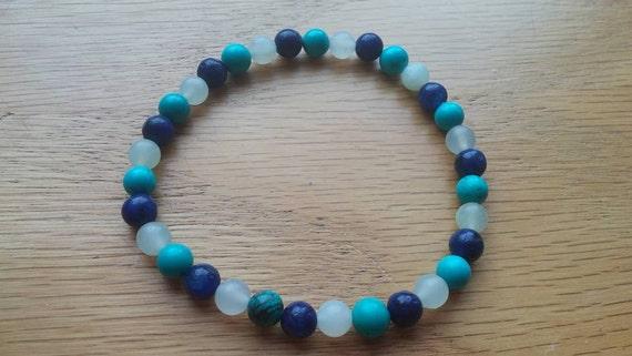 Depression, Anxiety, Autism, Asperger's, Communication enhancer. Jade, Lapis Lazuli and Turquoise Bracelet on Stretch String