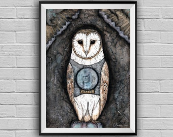 Jareth Labyrinth movie art -Barn Owl-Owl Decor -Mixed Media Collage Art Print -Owl Illustration-Fantasy Art-Bowie Art- Whimsical Wall Art