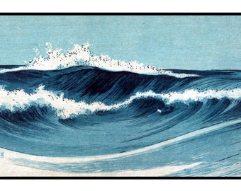 Waves Vintage Print - Sea Poster - Sea Digital Print - Blue - Japanese Vintage - Woodblock - Ukiyo-e - Uehara Konen - Digital Print