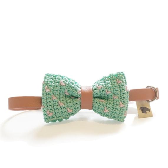 Mint Pet Bow Tie Collar - MINTY FRESH, pet accessories, pet bow tie, mint bow tie, dog bow tie collar, cat bow tie collar, crochet bow tie