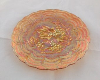 Marigold Carnival Glass Small Plate (Imperial Grape Pattern)
