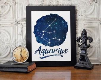 Aquarius, Zodiac Digital Print, Horoscope, January Birthday, February Birthday, Aquarius Art, Zodiac Art, Astrology Gift, Instant Download