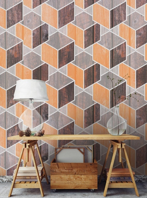Wood Geometric Wallpaper Temporary Wallaper Removable