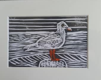 Sea gull Linocut prints from an Original linocut