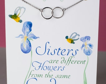 Sister Infinity Necklace - Linked Rings Necklace - Eternity Necklace - Handmade Necklace with a Stainless Steel Chain - Sister Necklace