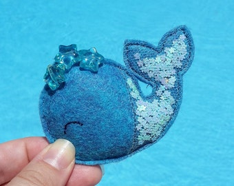 Blue Whale // Felt // Headband // clips // Hair accessories