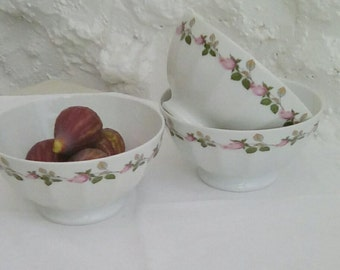 3 vintage Limoges bowls for café au lait.
