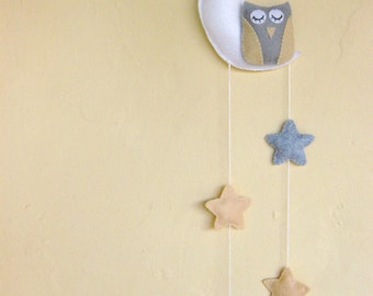 Owl in the moon grey yellow white baby mobile