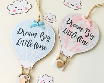 Handmade Personalised Hot Air Balloon Plaque Sign New Baby Nursey Gift Present Quote Any Text & Colour