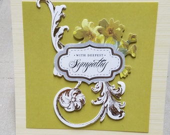 3D Floral and Filigree With Deepest Sympathy Card