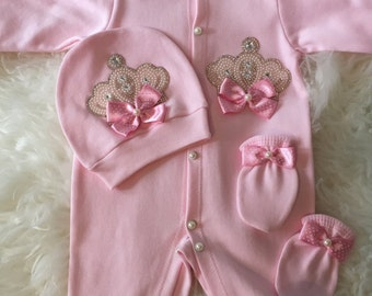 Newborn Take Home Outfit Baby Girl Coming Home Outfit Baby Girl Going home Outfit Baby Shower crown jewels