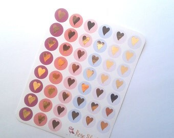 Foiled heart stickers Carmen Collection