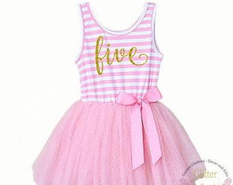 Fifth birthday outfit, 5th birthday dress,pink tutu for girls 5th birthday, 5th Birthday Party Outfit