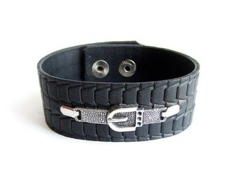 Mens black leather cuff bracelet, men buckle bracelet, men black leather bracelet, embossed leather cuff, italian jewelry
