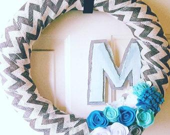 Wreathe with felt flowers customize with monogram.