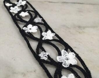 Trellis cuff bracelet in black and white