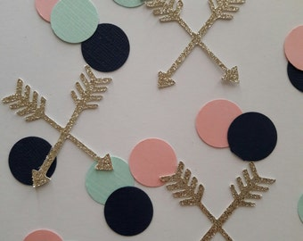 Boho confetti / arrow confetti / boho party decor / tribal party decor / navy mint pink gold confetti / arrow party decor / tribal