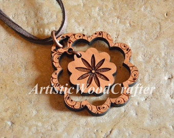 Wooden Flower Necklace (Cherry)