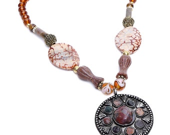 Pink Pitch Ethnic Semi-Precious Beaded Necklace ACN3