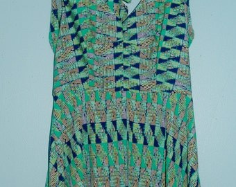 green patterned dress. size: small / medium.