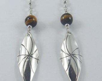 J Pool Graphics Collection Handmade Sterling Silver Pinwheel Diamonds with Tiger Eye Bead Earrings