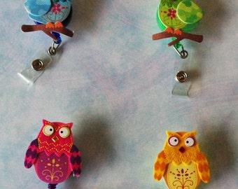 Felt Owl ID badge reel holder
