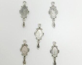 5 Tibetan Silver Mirror Charms