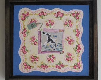 Original Small Painting, Vintage Handkerchief with Maine Balsam Fir Pillow