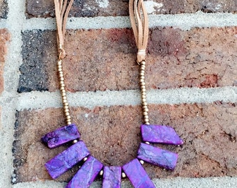 Boho Purple and Gold Beaded Necklace