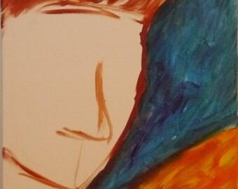 """Blue Man - 12"""" x 16"""" - Original Canvas Wall Art"""