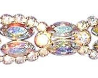 "Aurora Borealis  Vintage Rhinestone Bracelet, 7"" by 1"".. Free Shipping"