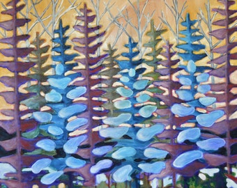 Original Contemporary Oil Painting of trees from the Canadian landscape on stretched canvas 24x24 gallery profile style