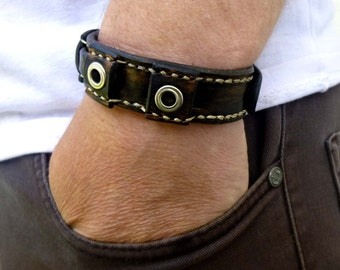 Black Bracelet men Bracelet Gift men bracelet leather men cuff bracelet men cuff leather Black man bracelets Guys Jewelry  men bracelet