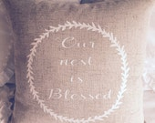 Our Nest is Blessed 18x18 throw pillow cover in Oatmeal